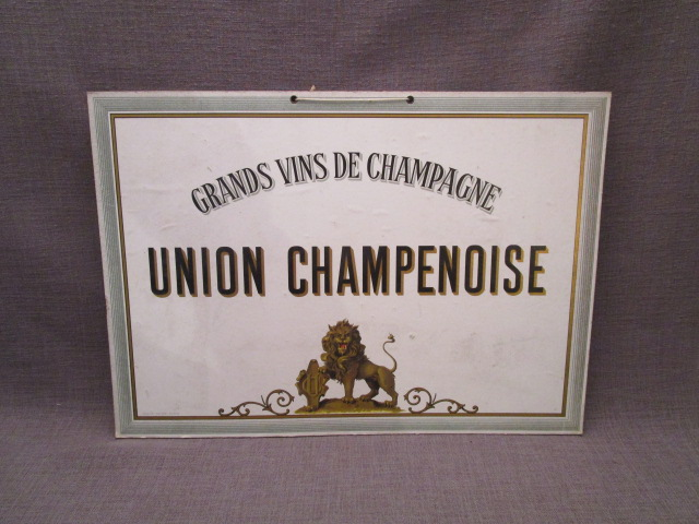 plaque publicitaire carton ancienne union champenoise marne antic. Black Bedroom Furniture Sets. Home Design Ideas